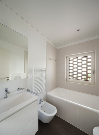 bathroom interior: interior of new apartment,  modern bathroom Stock Photo