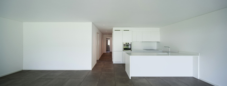 domestic: interior of new apartment, modern domestic kitchen Stock Photo