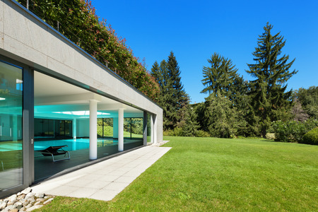 summer house: Modern house, garden with indoor pool, outdoors