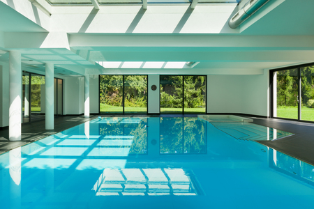 wide  wet: indoor swimming pool of a modern house with spa
