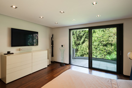 television: Interior of modern house, bedroom with television