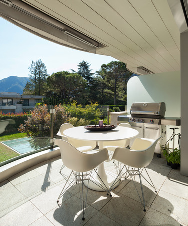 modern house, garden view from the balcony