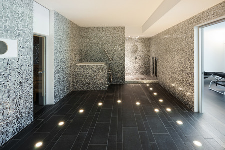 Interior of a modern house, turkish steam bath 스톡 콘텐츠