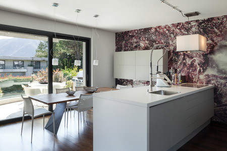 residential house: Interior of modern house, beautiful open space, kitchen and dining table