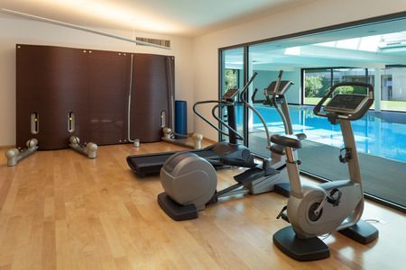 gym room: Interior, gym of a modern house with spa