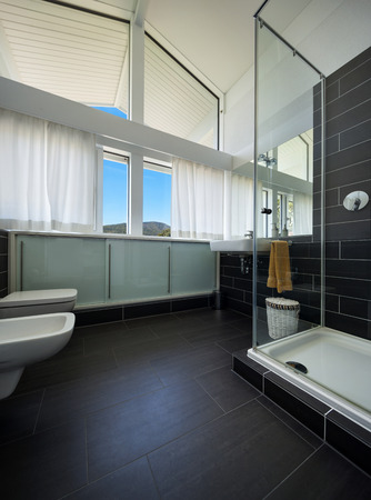 inside house: Architecture, new trend design, bathroom of modern house