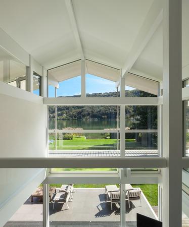 wood door: Architecture, interior of a modern house, veranda view