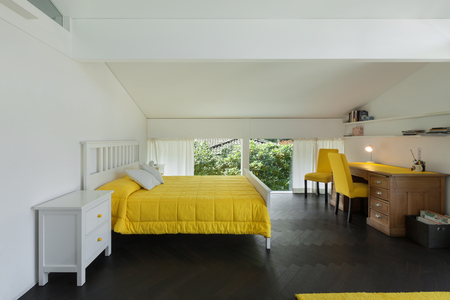 view of a comfortable bedroom: Architecture, comfortable bedroom of a modern house