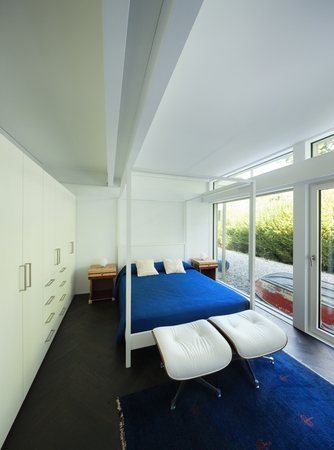 view an elegant wardrobe: Architecture, comfortable bedroom of a modern house