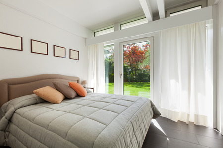 curtain window: Architecture, comfortable bedroom of a modern house