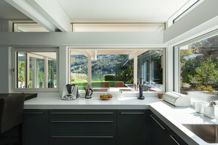 contemporary: interior house, view of a modern kitchen Stock Photo