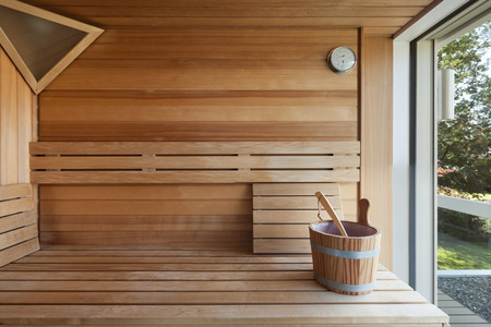 Interior of a wooden finnish sauna
