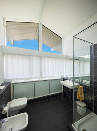 cabine de douche: Architecture, nouveau design tendance, salle de bains de la maison moderne