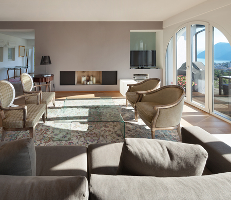 classic interior: Interior of a furnished house, comfortable living room Stock Photo
