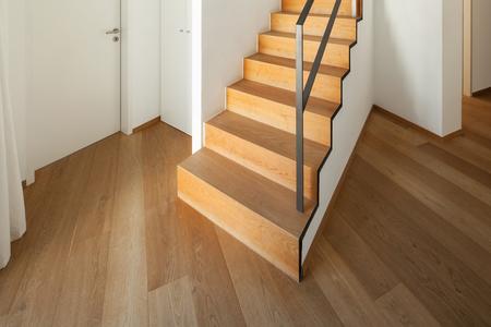 hardwood: Interior, wooden staircase of a modern loft