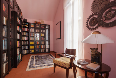 inside house: House interiors furnished, private library