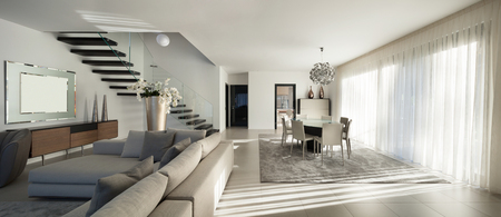 luxury house: Interior of a modern apartment, comfortable living room