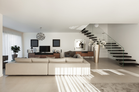 interior window: Interior of a modern apartment, comfortable living room