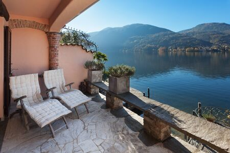 nice house: classical house, nice terrace overlooking the lake