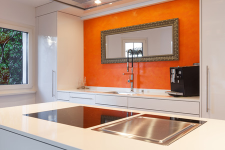 Interior of house, modern kitchen hob