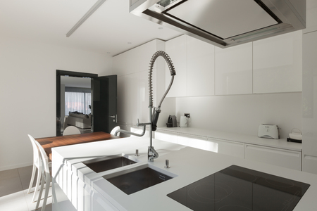 kitchen counter top: modern apartment, counter top of a domestic kitchen, hob Stock Photo