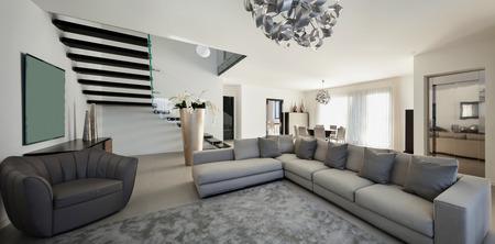 モダンなアパートメントは、快適なリビング ルームの間します。 写真素材