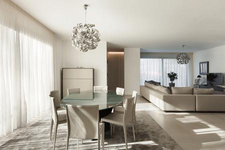 モダンなアパートメントは、快適なリビング ルームのインテリア 写真素材