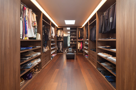closet: wide dressing room, interior of a modern house
