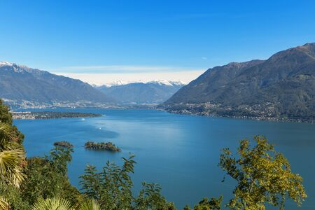 maggiore: Panoramic of Lake Maggiore in Ticino, Switzerland Stock Photo