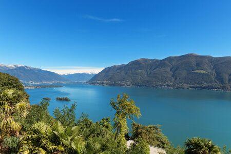 destination scenics: Panoramic of Lake Maggiore in Ticino, Switzerland Stock Photo