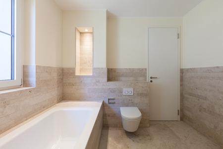 bath room: Interior, modern bathroom of a new apartment Stock Photo