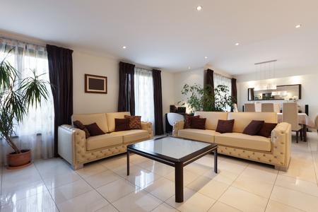モダンなアパートメントは、革張りのソファのリビング ルーム 写真素材