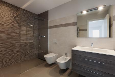 cuarto de baño: entre de nuevo apartamento, moderno cuarto de baño con ducha