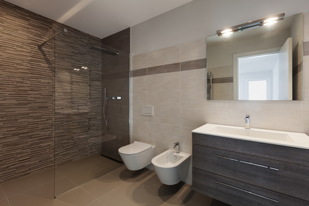 interior of new apartment, modern bathroom with shower Banco de Imagens