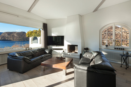 living room window: Interior of house, comfortable living room with wide window