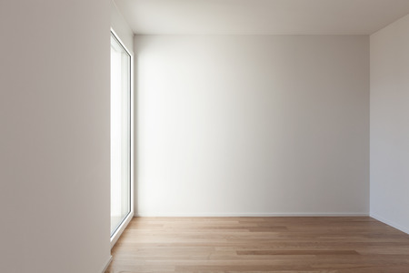 interior of a modern apartment, empty room, hardwood floor Stock Photo