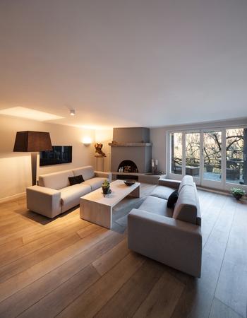 Interieur van het huis, moderne comfortabele woonkamer met open haard Stockfoto