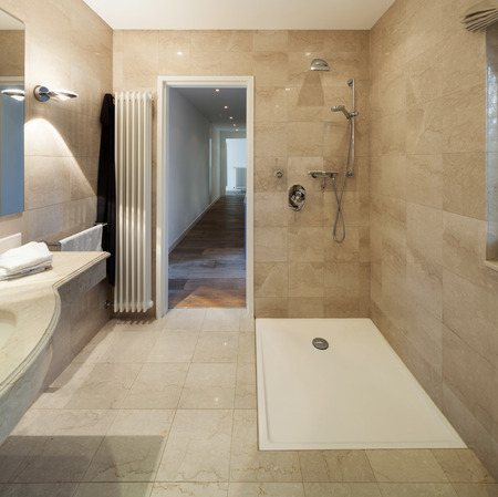 wide open spaces: Interior of a modern house, bathroom, classic design Stock Photo