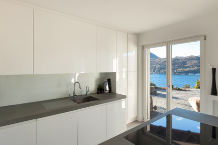 counter top: Interior of house, modern kitchen with induction stove