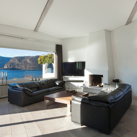 tv wall: Interior of house, comfortable living room with wide window