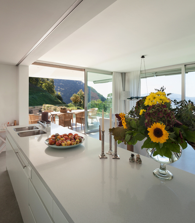 counter top: Interior of a modern villa, counter top of the kitchen