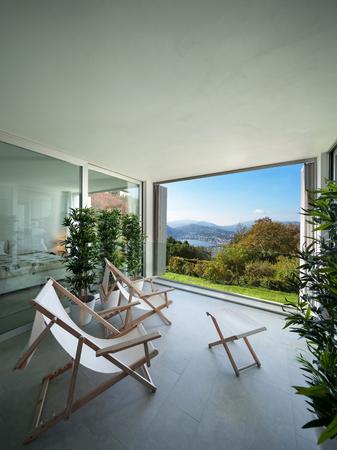 balcony window: Interior of a modern house,�balcony overlooking the lake