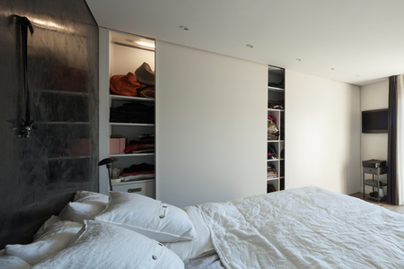 bedroom wall: Interior of house, comfortable bedroom, closet wall