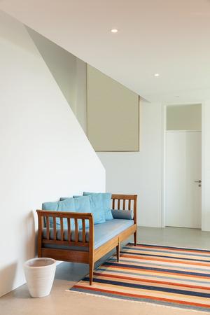 divan: Interior de una casa moderna, sala con alfombra diván y rayas