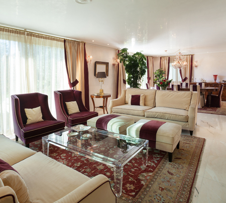furnished: comfortable living room of an house, classic design furniture