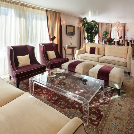 classic living room: comfortable living room of an house, classic design furniture