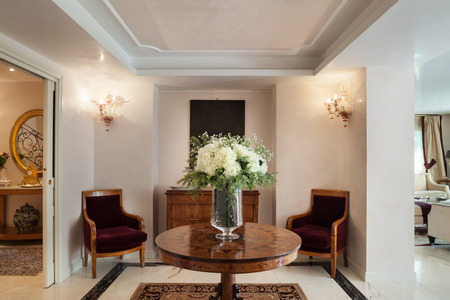 Inter de una mansión de lujo, sala de estar Foto de archivo