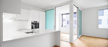 white kitchen: Interior of modern apartment with wooden floor