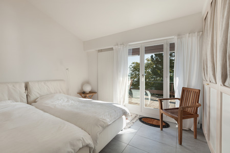 comfy: Interior of house, double bed with comfy duvets Stock Photo