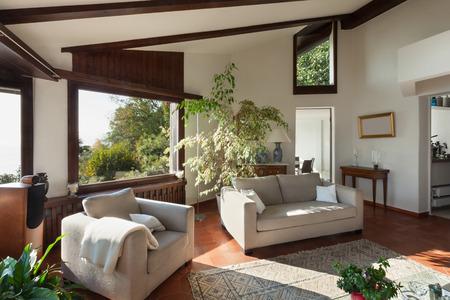divan: sala de estar interrelacionado de una casa rústica; diván y sillón Foto de archivo